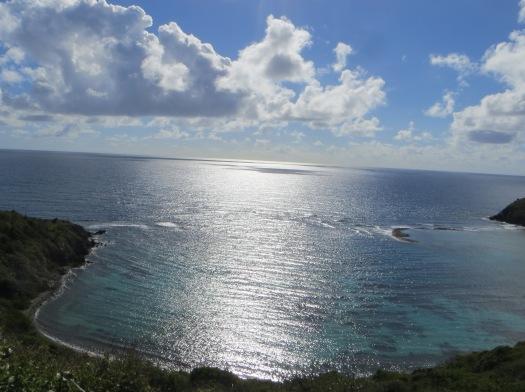 Light reflected in serene blue ocean