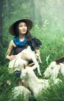 goat hug lady