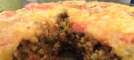 bite of southwestern pie tastes great with salsa too