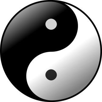 Drawing of yin and yang symbol, the Taijitu