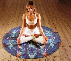 Young woman meditating in seated yoga lotus position