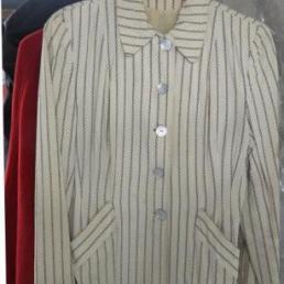 Ladies 1940's blazer, cream colored with dark navy blue stripes