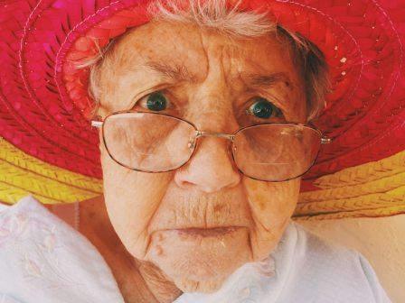 Shocked face of elderly woman