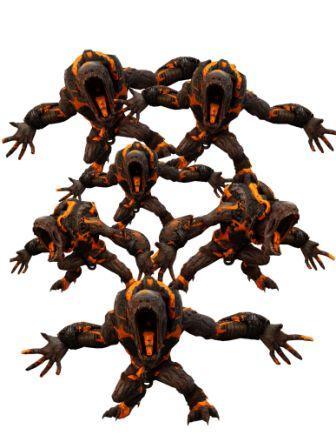 Far-reaching orange and brown monster