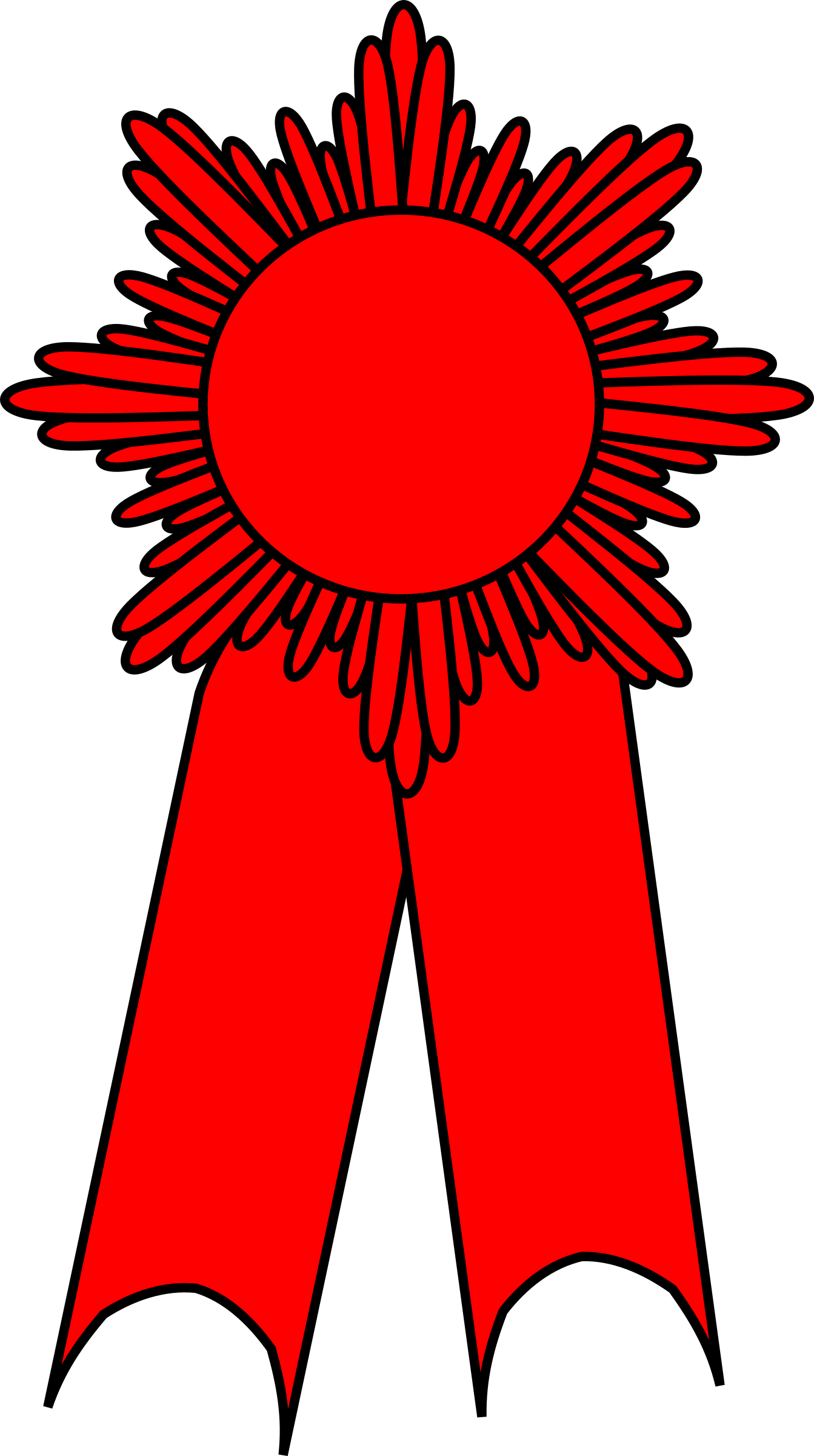 Graphic drawing of a red ribbon