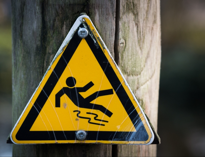 Caution sign for slipping