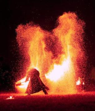 Photo of person engulfed with flames