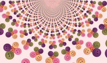 Multiplying smiles in green, pink, orange, purple from mandala