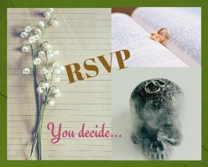 Collage of lilies of the valley on paper, biblical text with weddng rings, skeleton head with wedding rings