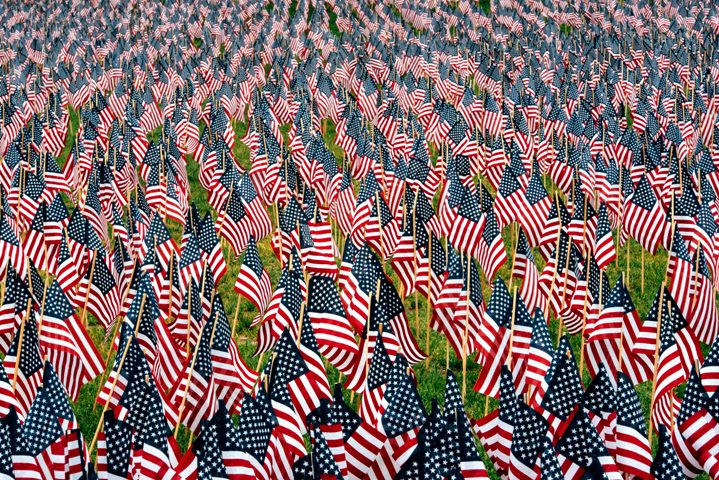 Field of American flags in honor of all those who fought for liberty and American values