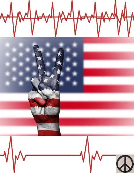 Symbols of red violent static above a hand indicating a peace sign which is incorporated into an American flag background with smaller and less frequent signs of red static below followed by a black peace symbol on slightly wrinkled tan cloth.