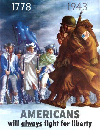 Colorful poster of American soldiers in major wars fought for liberty
