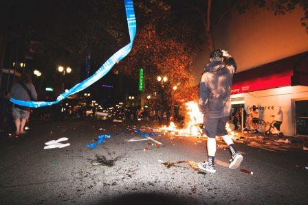 Anarchists and Black Lives Matter violent protestors burning and looting