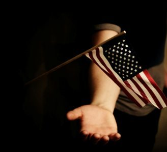 American flag and open hand