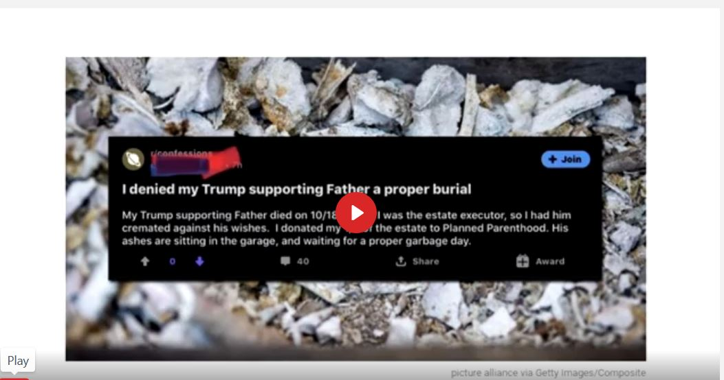Post from a Far Left Person Dishonoring his Patriotic Father's Cremains