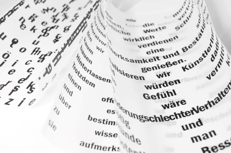Black and white photo of foreign dictionary