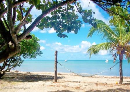 Hammock on the beach overlooking turquoise sea