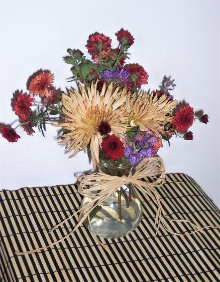 Autumn flower arrangement of mums