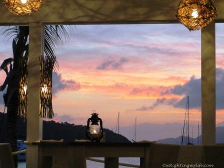 Lanterns at restaurant during sunset