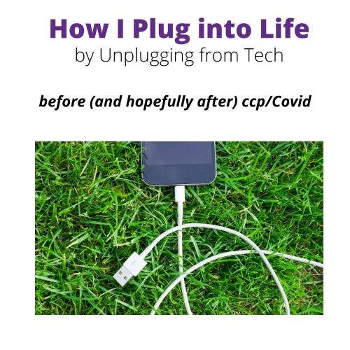 """Sign indicating """"How I Plug into Life by Unplugging from Tech before (and hopefully after) ccp/Covid"""