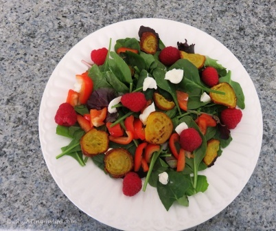 Roasted Golden Beet Salad with Berries and Goat Cheese
