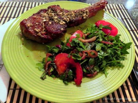 Herb Encrusted Veal Chop with Tuscan Salad