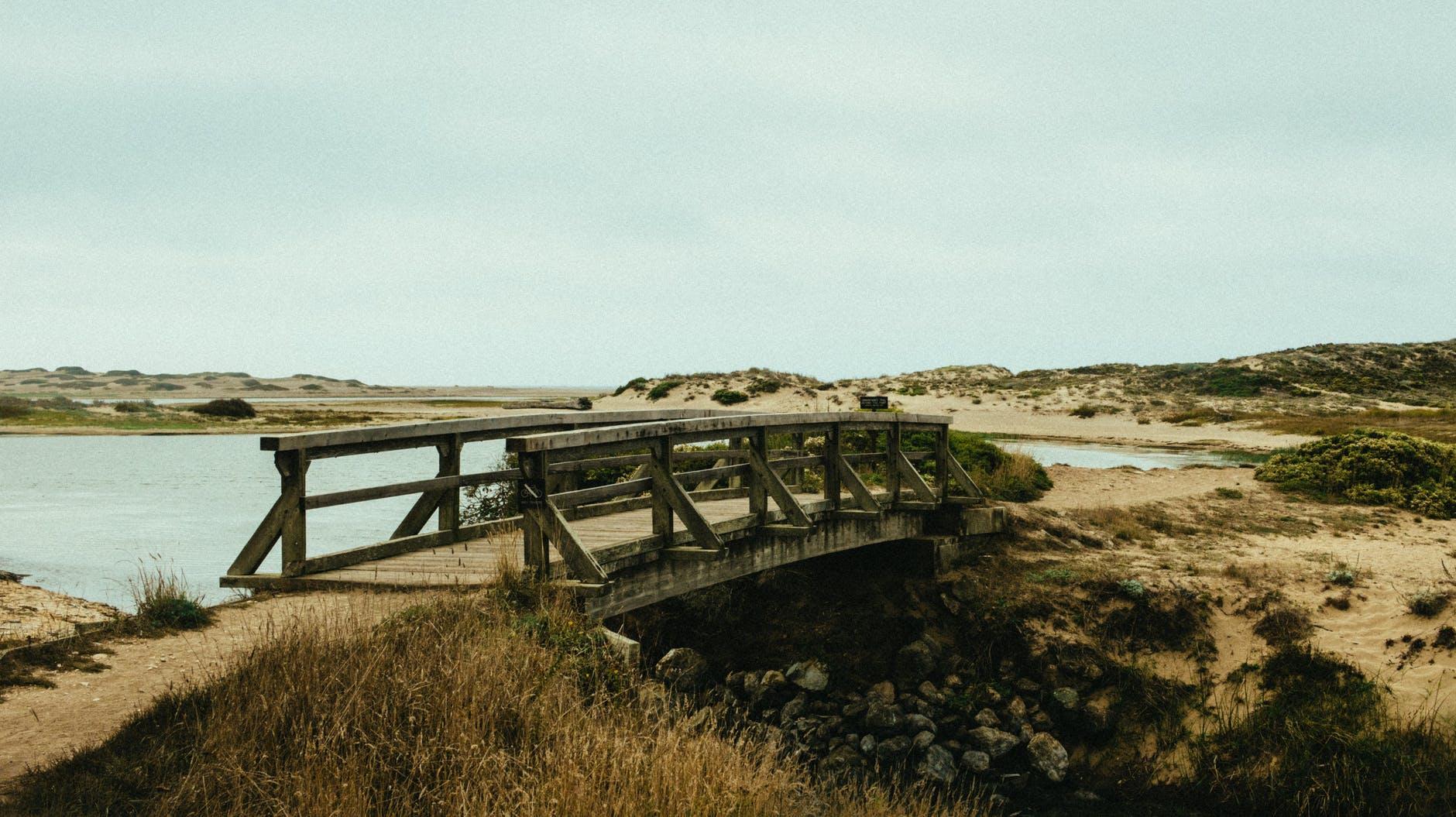 wooden bridge to similar landscape on either side