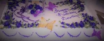 Birthday Cake in Purple Flowers
