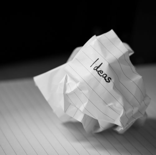 Crumpled up paper of ideas