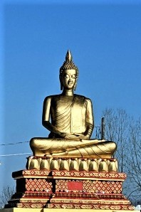 golden Hindi statute in wooded area